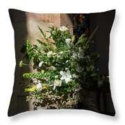 Arrangement Of White Flowers Throw Pillow