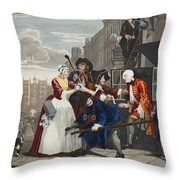 Arrested For Debt, Plate V From A Rakes Throw Pillow