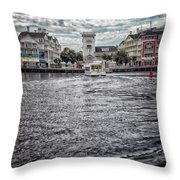 Arriving At The Boardwalk Before The Storm Throw Pillow