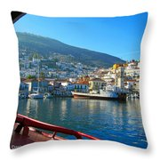 Arriving At Hydra Throw Pillow