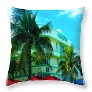 Art Deco Barbizon Hotel Miami Beach Throw Pillow
