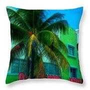 Art Deco Boulevard Hotel Miami Throw Pillow