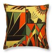 Art Deco In Orange Throw Pillow
