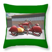 Art Deco Motorcycle With Sidecar Throw Pillow
