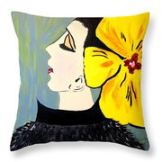 Yellow Bow Throw Pillow