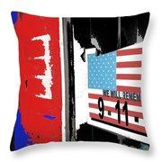 Art Homage Jasper Johns American Flag 9-11-01 Memorial Collage Barber Shop Eloy Az 2004-2012 Throw Pillow
