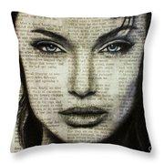 Art In The News 44- Angelina Jolie Throw Pillow