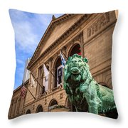 Art Institute Of Chicago Lion Statue Throw Pillow by Paul Velgos