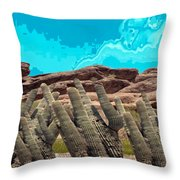 Art No 1901 American Landscape Cactus Stone Mountains And Skyview By Navinjoshi Artist Toronto Canad Throw Pillow