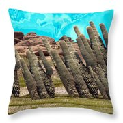 Art No.1900 American Landscape Cactus Stone Mountains And Skyview By Navinjoshi Artist Toronto Canad Throw Pillow