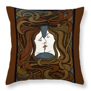 Art Nouveau Woodblock Print  1898 Throw Pillow