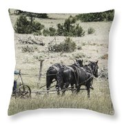 Art Of Horse Plowing Throw Pillow
