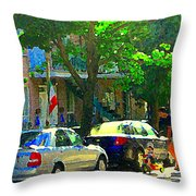 Art Of Montreal Day With Daddy And Yellow Wagon Zooming Our Streets Of Verdun Scene Carole Spandau  Throw Pillow