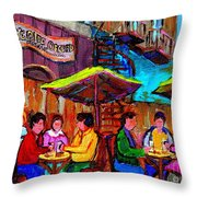 Art Of Montreal Enjoying A Pint At Ye Olde Orchard Irish Pub And Grill Monkland Village Cafe Scenes Throw Pillow