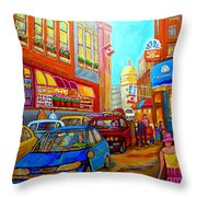 Art Of Montreal Summer Street Scenes Of Quebec With Caleche Near Cafes On Cobblestones Old Montreal Throw Pillow