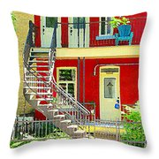 Art Of Montreal Upstairs Porch With Summer Chair Red Triplex In Verdun City Scene C Spandau Throw Pillow