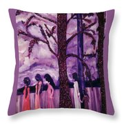 Art Purple Rain Throw Pillow