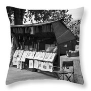Art Seller On The Left Bank - Paris People Series Throw Pillow by Georgia Fowler