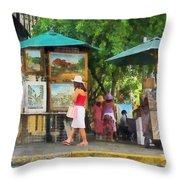 Art Show In San Juan Throw Pillow