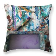 Art Table With Water And Brush Throw Pillow