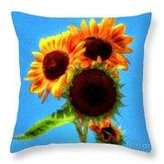 Artful Sunflower Throw Pillow