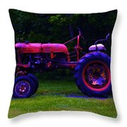 Artful Tractor In Purples Throw Pillow