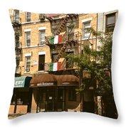 Arthur Avenue In The Bronx Throw Pillow