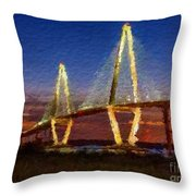 Arthur Ravenel Bridge At Evening  Throw Pillow
