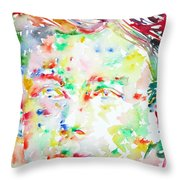 Arthur Rimbaud Watercolor Portrait Throw Pillow