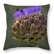 Artichoke Bloom And Bee Dip Throw Pillow