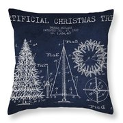 Artifical Christmas Tree Patent From 1927 - Navy Blue Throw Pillow
