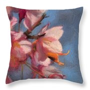 Artisic Painterly Cherry Blossoms Spring 2014 Throw Pillow