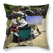 Artist At Work In Seaview - Isle Of Wight Throw Pillow