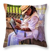 Artist At Work - Painting  Throw Pillow
