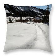 Artist Cabin Snowy Pathway Throw Pillow