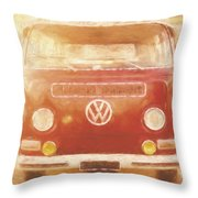 Artistic Digital Drawing Of A Vw Combie Campervan Throw Pillow