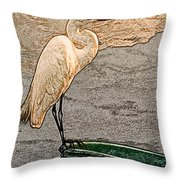 Artistic Egret And Boat Throw Pillow