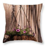 Artistic Hanging Basket Of Petunias Throw Pillow