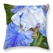 Artistic Japanese Iris Blue And White Flower Throw Pillow
