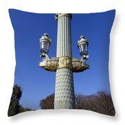 Artistic Lamp Post At The Place De La Concorde In Paris France Throw Pillow