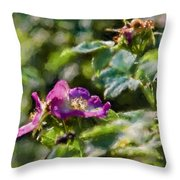Artistic Painterly Two Dogroses Summer 2014. Throw Pillow