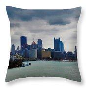 Artistic Pittsburgh Skyline Throw Pillow