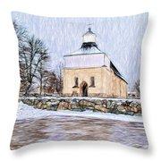 Artistic Presentation Of #svinnegarns #kyrka #church Of #svinnegarn March 2014 Viewed From The Parki Throw Pillow