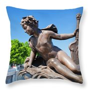 Artistic Statue On Alexandre Bridge Against Eiffel Tower Throw Pillow