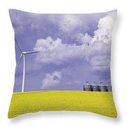Artists Choice Wind Turbine And Canola Throw Pillow