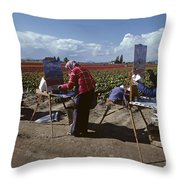 Artists Painting Tulip Fields Standing In A Row  Throw Pillow
