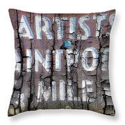 Artists' Paintpots Sign Throw Pillow