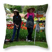 Artists Posing For Papparazzi II Throw Pillow