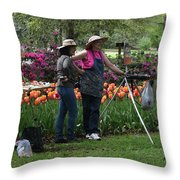 Artists Posing For Papparazzi Throw Pillow