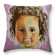 Artist's Youngest Daughter Throw Pillow by Marwan  Khayat